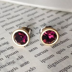 Lia Sophia Vintage dark red stud earrings